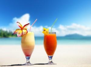 fresh fruit juices on a tropical beach
